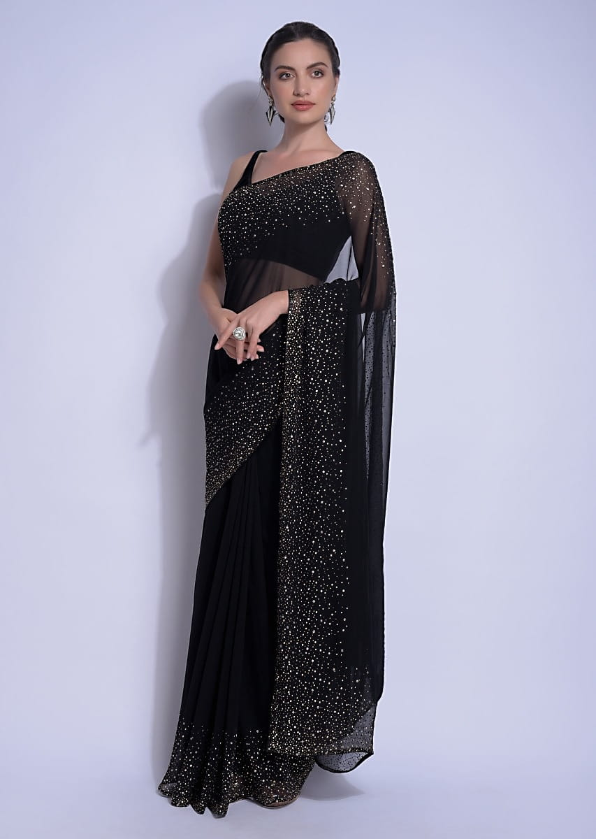 Buy Ink Black Saree In Georgette With Kundan Work On The Border And Pallu Online - Kalki Fashion