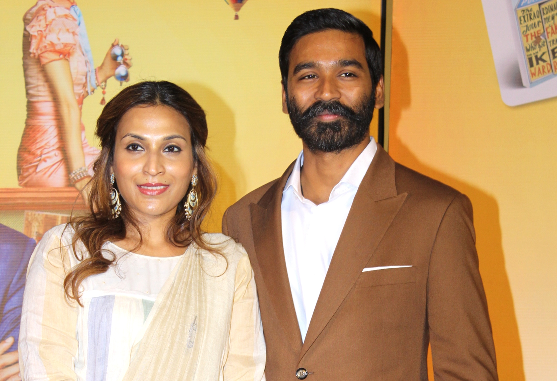 """Mumbai: Actor Dhanush with his wife Aishwarya R. Dhanush at the trailer launch of his upcoming film """"The Extraordinary Journey of the Fakir"""", in Mumbai, on June 4, 2019. (Photo: IANS) ⋆ Bollywood Pub"""